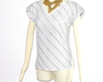 Vintage WHITING DAVIS White Gold Stripe Metal Mesh Chainmail Top - AUTHENTIC