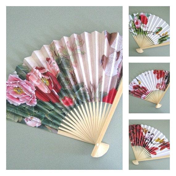Flower fans 4 party fan favors party favors hand fan decor - Wall fans decorative ...