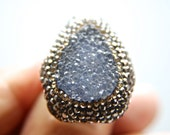 Druzy Chrysoprase  Gemstone Swarovski Crystal  Rings Sterling Silver  Adjustable Sparkly Drusy