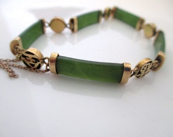 Jade bracelet and earrings, stunning estate jewels, 14K yellow gold fortune bracelet, recent appraisal available