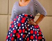 "Plus Size Maxi Skirt Navy Red and White Polka Dot plus size High Waist / plus size  2 - 24 ) 30"" L"