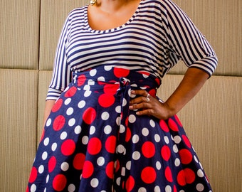 "Plus Size Maxi Skirt Navy Red and White Polka Dot plus size High Waist / plus size  2 - 24 ) 30"" L"