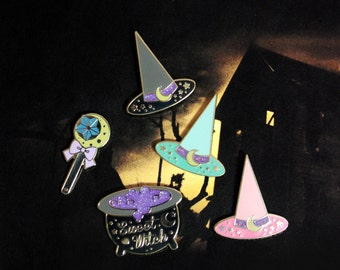 Sweet Witches Pin Collection - Witch Hats Wand Cauldron Glitter Hard Enamel Pins