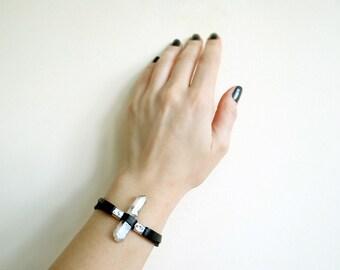 Black Leather Bracelet, Womens Leather Bracelet, Mens Bracelet, Leather Accessories