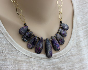Purple Bib Necklace