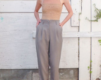 Vintage High Waisted 1980's Minimalist Taupe Gray Tapered Skinny Trousers Pants S/M 28