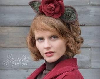 Red Velvet Rose Headpiece, Flower Fascinator Hat Headband