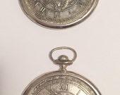 Delli Inc Vintage Japan Silver Plated Pocket Watch Coasters Steampunk Clock Decor Set of 2