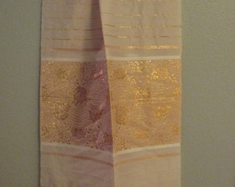 Pink & Gold Wool Scarf shawl sari Bellydance belly dance tribal fusion cabaret ATS