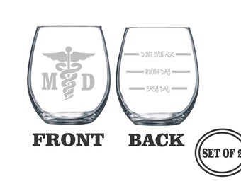 2 MEDICAL DOCTOR ETCHED Stemless Wine Glasses Set of 2 Engraved Wine Glasses Gift Doctor Funny Wine Glasses Gift Toasting Glass Cocktail
