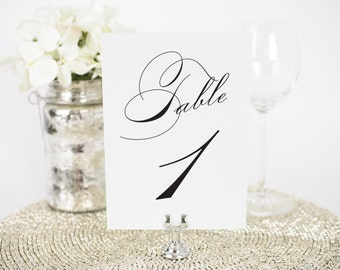 "Vintage Glam Wedding Table Numbers - 4x6"", Any Color - Decorative, Party Decoration, Script"