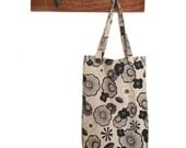 Screen Printed Tote Kimino Floral Black Ink Calico Shopping Bag Hand Printed Japanese Style Flowers Oriental Textile Design Blossom