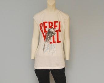 "Vintage RARE 1983 Billy Idol ""Rebel Yell"" Tank Top T-Shirt - Fist Pump"