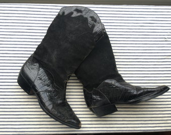 6 / Black leather and Suede Cowboy Boots / On Trend Black Boots / Embossed Leather Pointed Toe Boots / Nashville hipster