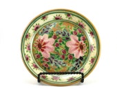Gold Dinnerware - Handmade Floral Ceramic Plate - Pottery Dish for Dessert or Bread - Pink Flower Design