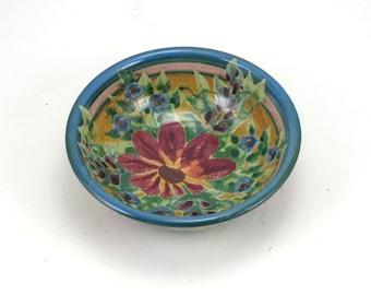 Ring Dish, Cat Bowl, Dinnerware - Yellow Porcelain with Red Floral Design - Handmade Ceramic OOAK