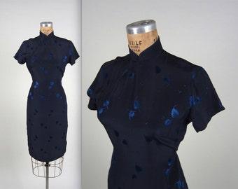 1950s brocade cheongsam dress • vintage 50s dress • silk wiggle dress