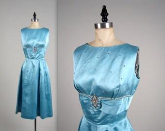SALE • 1950s elegant rhinestone dress • vintage 50s dress • satin party dress