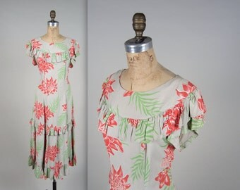 1940s SURFRIDERS rayon dress • vintage 40s dress • novelty hawaiian print gown