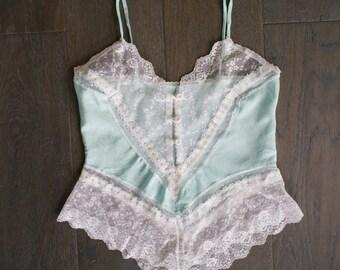 Vintage TEAL LACE Lingerie Camisole Top (s)
