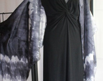 22x90 black and white silk scarf