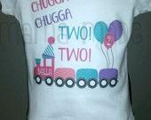 Girls 2nd Birthday Shirt, Girl's Train Birthday Shirt, Chugga Chugga Two Two Shirt, second birthday train shirt 12m  18 mo 24 mo 2t 3t 4t 5