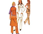 70s Boho Tunic Top & Pants Pattern McCall's 2629 Vintage Sewing Pattern Size 14 Bust 36 Inches