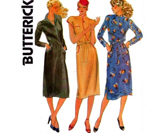 80s Butterick 6787 Mock Wrap Asian Influence Shirtdress Pattern Size 14 Bust 36 inches UNCUT Factory Folded