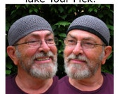 Mens Cotton Skullcap Cooling Cap Crocheted in Armor Gray + Optional Black Band