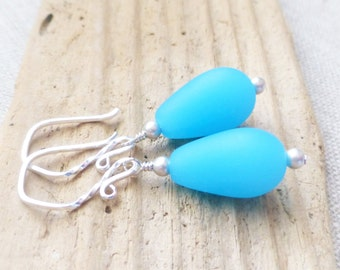 Seaglass Earrings, Opaque Aqua Blue Teardrops, Sea Glass, Beach Jewelry, Ocean Earrings, Sterling Silver Earrings, Nautical, Gift for Her