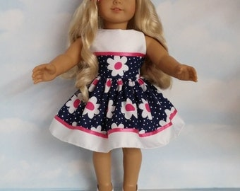 18 inch doll clothes - Navy Floral Dress made to fit the American Girl Doll - FREE SHIPPING