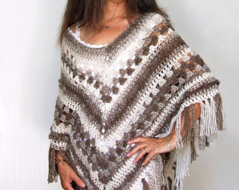 Chunky Crochet Poncho PATTERN / Easy Crochet Pattern / Made in