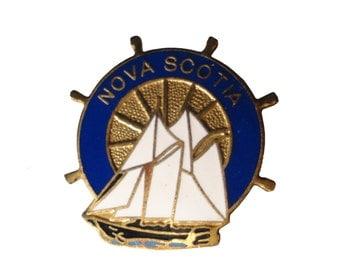 NOVA SCOTIA CANADA vintage lapel cloisonne enamel pin sailboat Canadian Flag