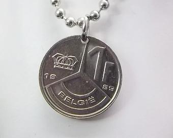 Coin Necklace, Belgium 1 Franc, Coin Pendant, Men's Necklace, Women's Necklace, Ball Chain, 1989