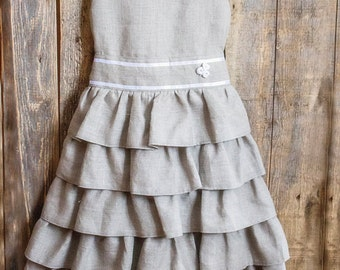 Linen Ruffle Dress, Flower Girl, Rustic Wedding, Tiered Skirt, Gray Linen, Belted Dress, Round Neck, Country Dress, Handmade, Custom Sizes