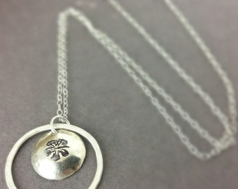 Hibiscus Sterling Silver Necklace, Hibiscus Disc Necklace, Hibiscus Jewelry