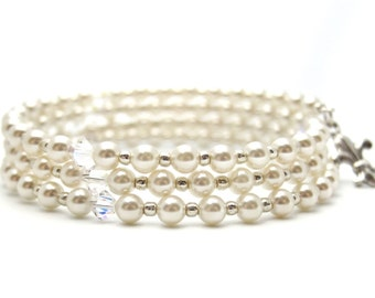 Pearl bracelet - memory wire bracelet - coil bracelet - wrap around bracelet - pearl bracelet - Swarovski pearl bracelet - wedding bracelet