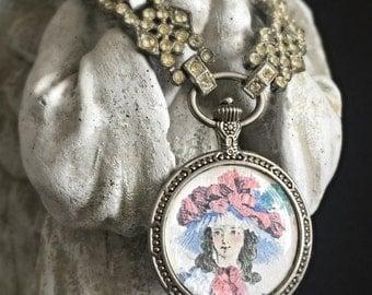 SOLD to Barbara - my fair lady - vintage fashion illustration portrait rhinestones aqua glass beaded assemblage necklace