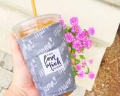 Iced Coffee Cozy - MAMA - GRAY with SALMON lining