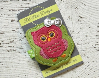 Owl Hair Clip, Vinyl Felt Hair Clip, Machine Embroidered, Alligator Clip, Non Slip, Ready to Ship