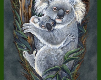 Koala Mother and Baby Feather Print