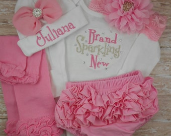 Newborn, Baby girl, coming home outfit, Brand Sparkling New, baby girl outfit, baby girl clothes, baby hat, take home outfit, embroidered