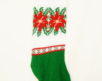 Vintage 80s-90s Giant Christmas Stocking Retro Kitsch Holiday Decor