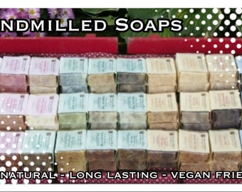 Pick 25 Handmade Hand-milled All Natural Soaps, mix and match your choice of MANY varieties