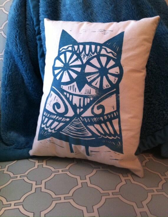 Hand Printed Block Print Owl Pillow - Jubilee Art by Patti Miller
