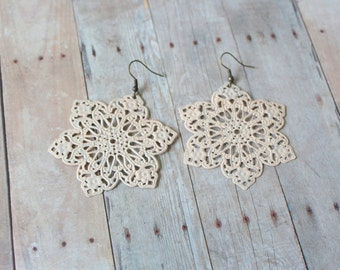 C A M E L - Blush Beige Lace Star, Hand Painted Metal Filigree, Antique Bronze Dangle Statement Earrings