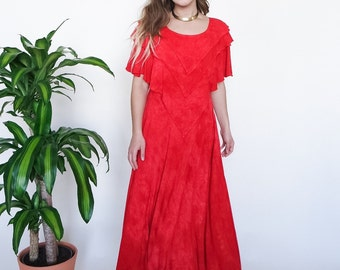 SALE* 80s Red Rayon Bali Capelet Maxi // sz S/M