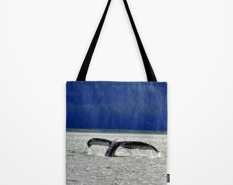 Humpback Whale Tail Tote Bag - Wildlife Photo Tote