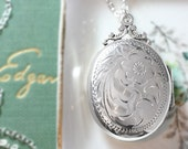 Birks Sterling Silver Locket Necklace, Oval Hand Engraved Vintage Picture Pendant - Meant to be Together