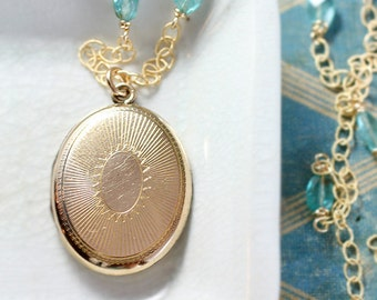 Antique Gold Filled Locket Necklace, Small Oval F.M. Co. Photo Pendant with Wire Wrapped Apatite Chain - Bejeweled